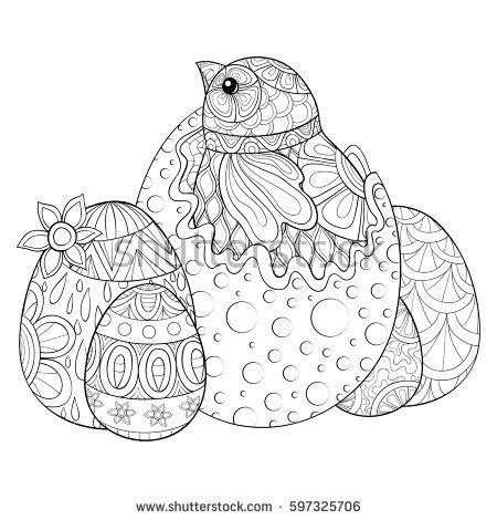 Happy Easter Adult Coloring Book With Eggs And Chicken Zen Art