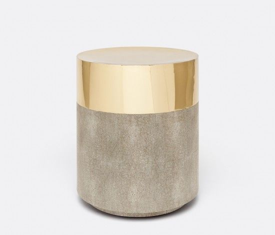 "Maxine stool from Made Goods 17"" dia x 20""h faux shagreen/shiny brass"