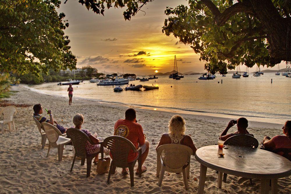 Sunset At The Beach Bar Cruz Bay St John Usvi Another Favorite Spot To Enjoy A Bushwhacker And
