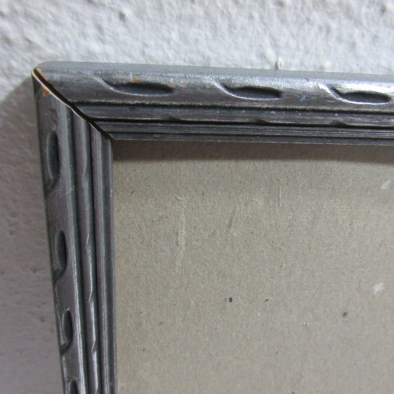 Wood Picture Frame Vintage Silver Gray 10 X 14 Inch With No Etsy Wood Picture Frames Picture Frames Antique Frames