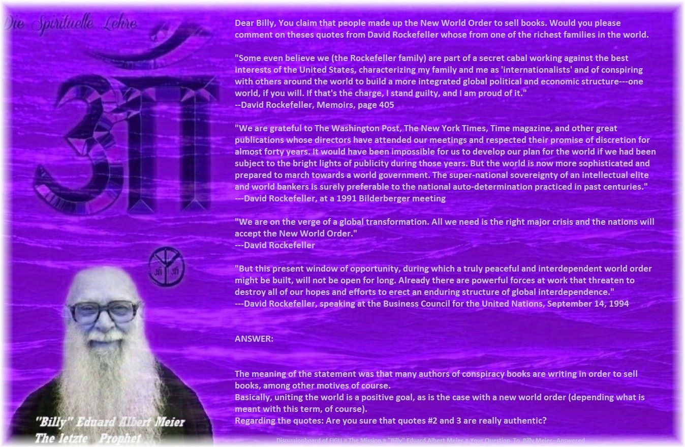"""Basically, uniting the world is a positive goal, as is the case with a new world order (depending what is meant with this term, of course).  Regarding the quotes: Are you sure that quotes #2 and 3 are really authentic?   ( actions for other people to read.  If a new """"world order"""" would be founded on the spiritual teachings, which is not very probable in the near future, much good would result.)"""