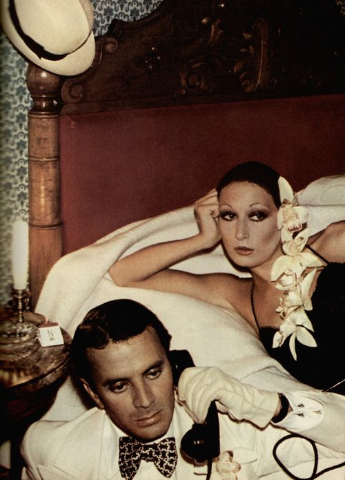 anjelica huston and manolo blahnik, vogue UK Jan 1974
