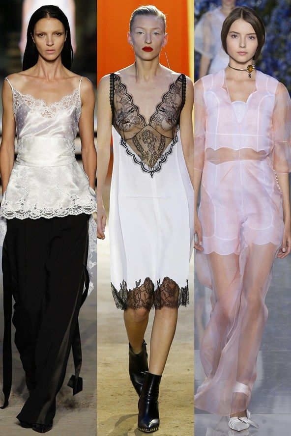 Lingerie-look slip dresses and camis