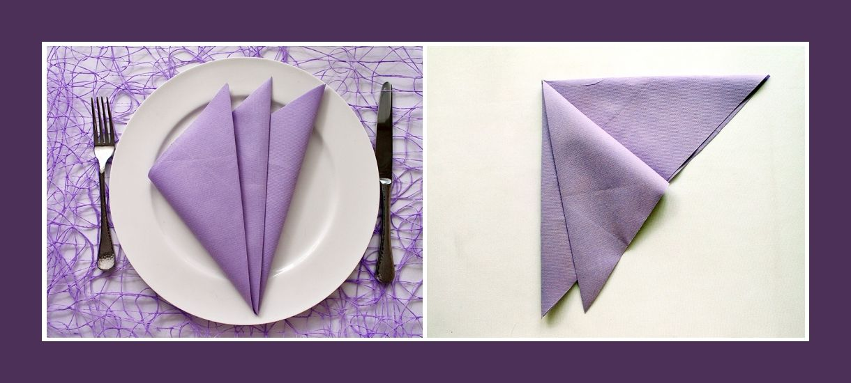 servietten falten facher lila einfach