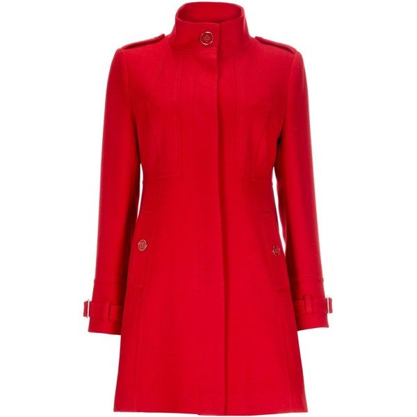 Wallis Red Petite Funnel Coat ($69) ❤ liked on Polyvore featuring ...