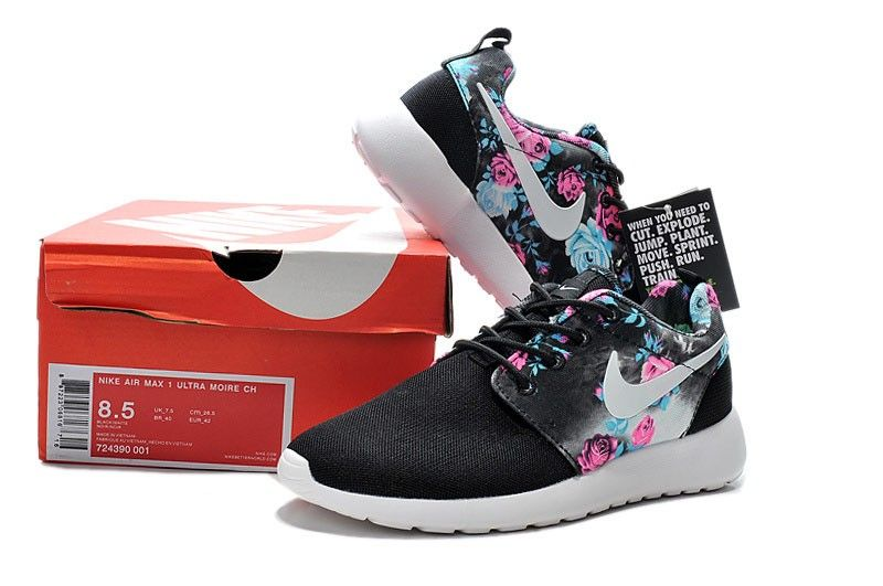 new style 12b2c b383b Floral Print Women s Nike Roshe One Running Black Light Blue Pink Flower