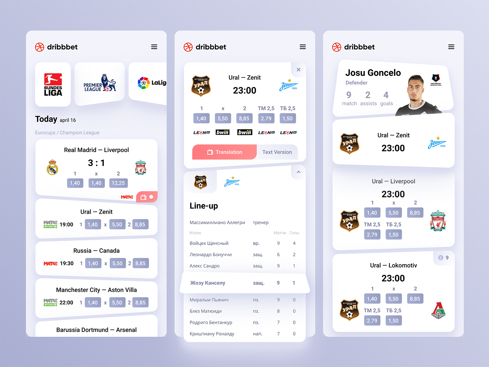 Dribbet — Betting application concept Concept, Show