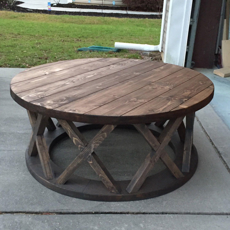 """Custom built 42"""" round x brace farmhouse coffee table"""