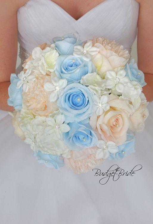Bellini And Capri Davids Bridal Wedding Flowers With Capri Light Blue Roses Bellini Peac Bridal Wedding Flowers Blue Wedding Centerpieces Blue Wedding Bouquet