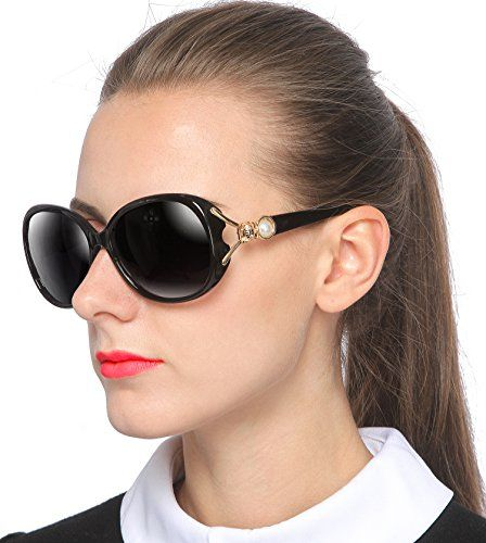 9c98319ba SIPLION Womens Shades Oversized Polarized Fox Sunglasses 100 UV Protection  7616 Black *** Read