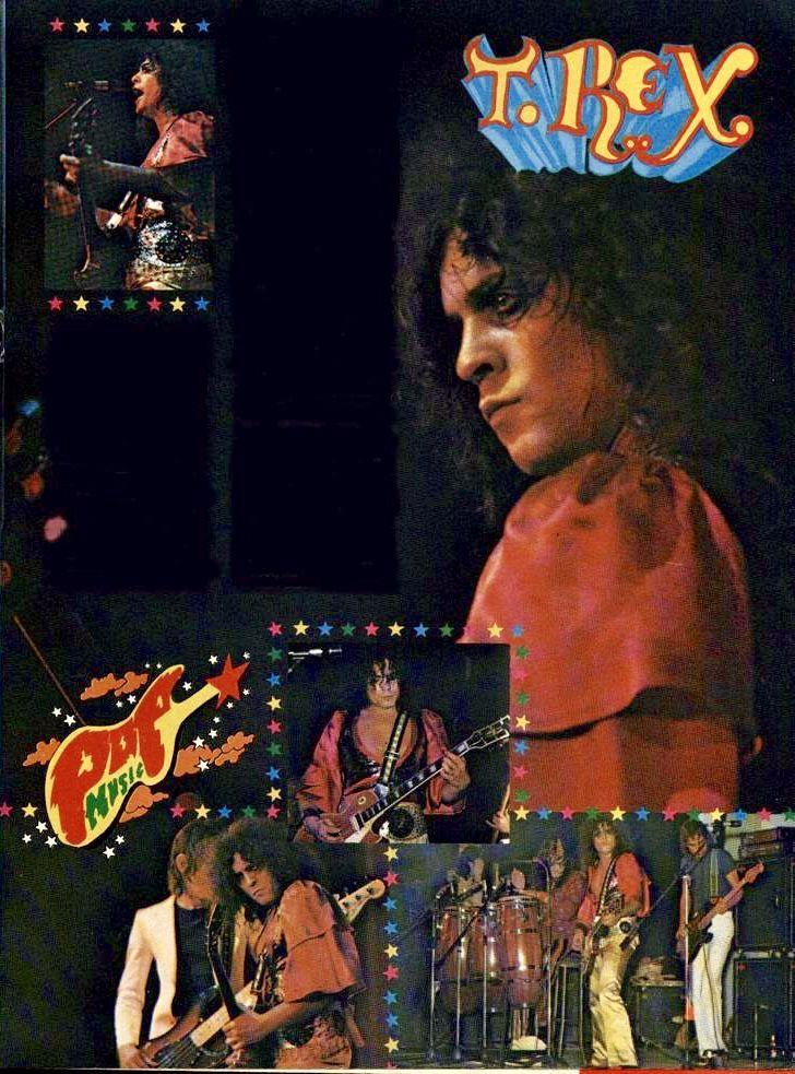 Magazine spread of the December 3, 1973 T. Rex concert in Paris.