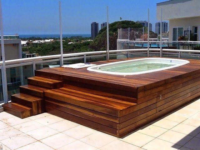 Piscinas Elevadas y recubrimiento en Deck   jardin