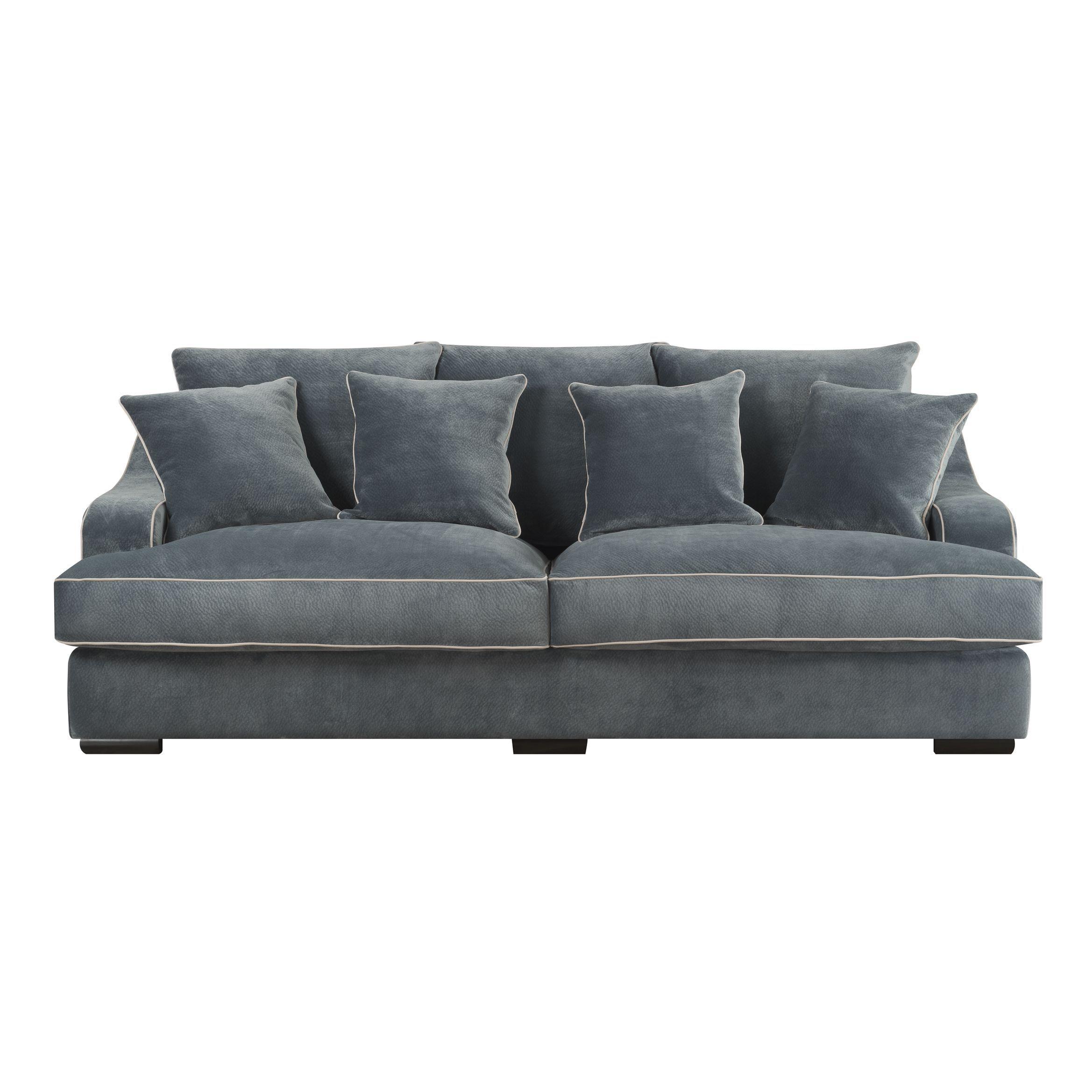 Emerald Caresse Marine Blue Plush Oversized Sofa (Caresse Marine Blue Plush  Oversized Sofa) (Polyester)
