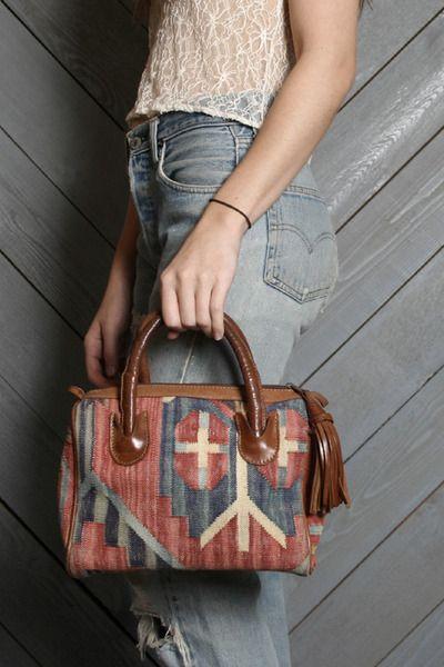 vintage turkish kilim wool + leather doctor bag satchel purse