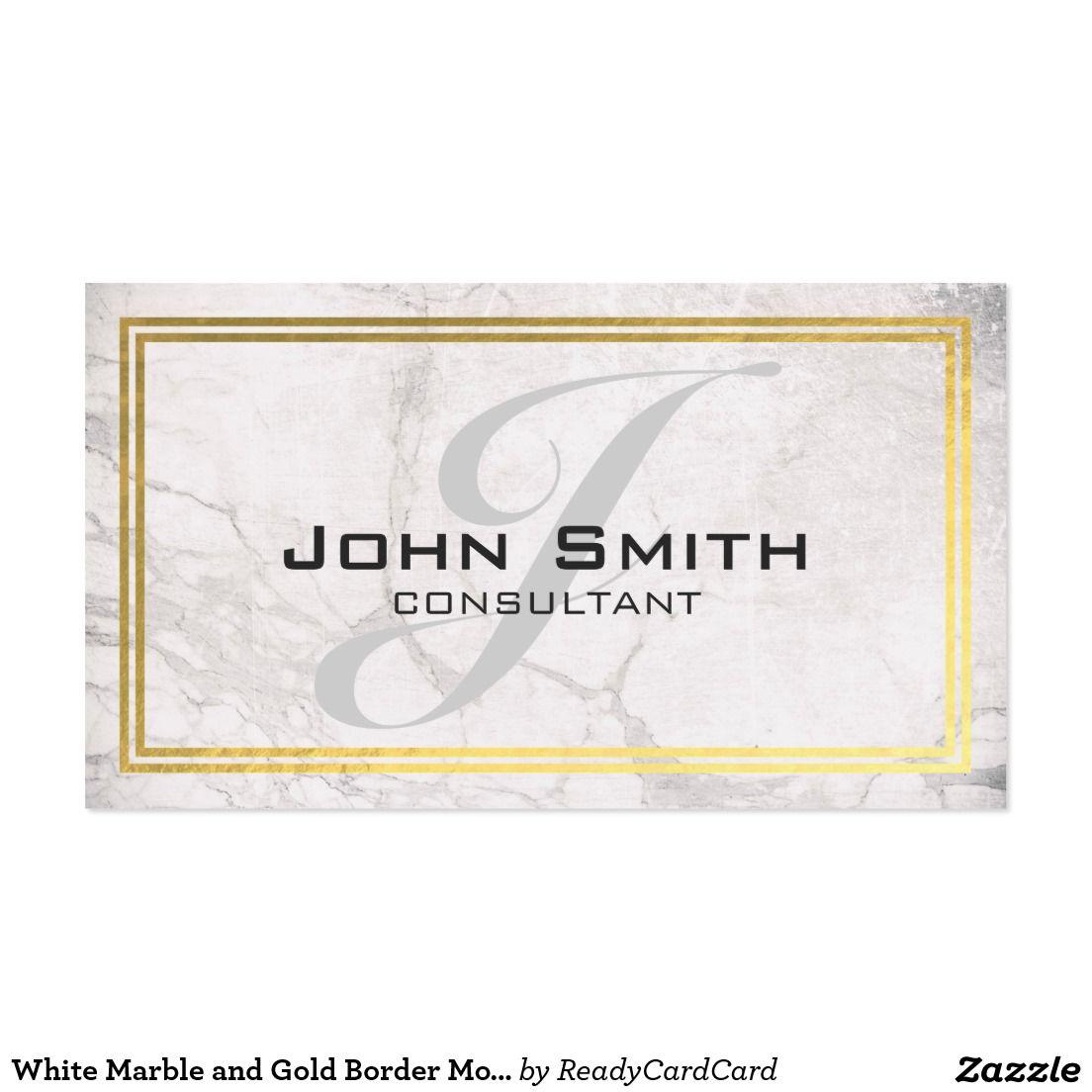 White marble and gold border monogram consultant business card white marble and gold border monogram consultant business card magicingreecefo Images
