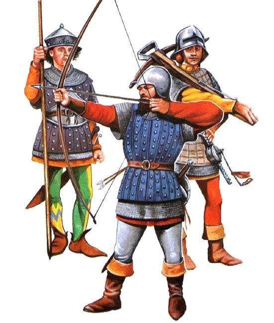 Balestriere, fante e arciere inglesi, guerra dei Cent'anni, XV secolo