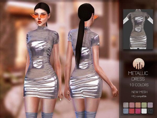 busra-tr Sims — busra-tr's Metallic Dress BD157