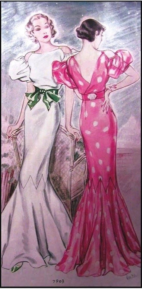 T7903 - 1930s Evening Gown with Drop Sleeves Sewing Pattern ...