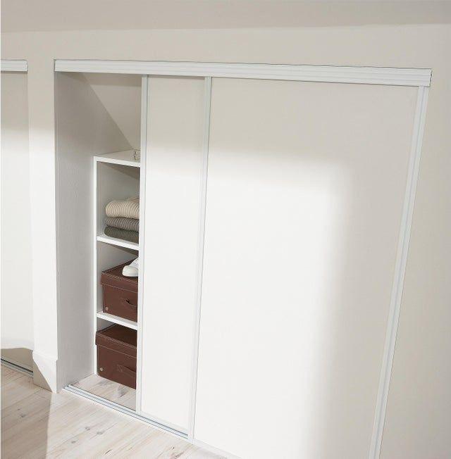 Porte De Placard Coulissante Effet Frene Blanc L 67xh 120cm