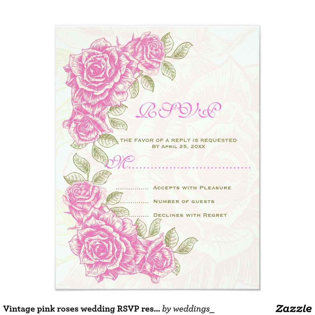 Vintage pink roses wedding RSVP response card | Response cards ...