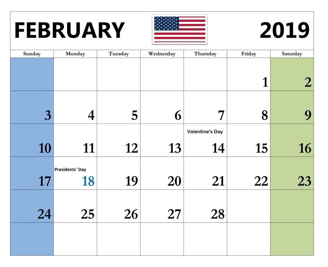 2019 February Calendar With Holidays Usa Free February 2019 Calendar With Holidays #February #february2019