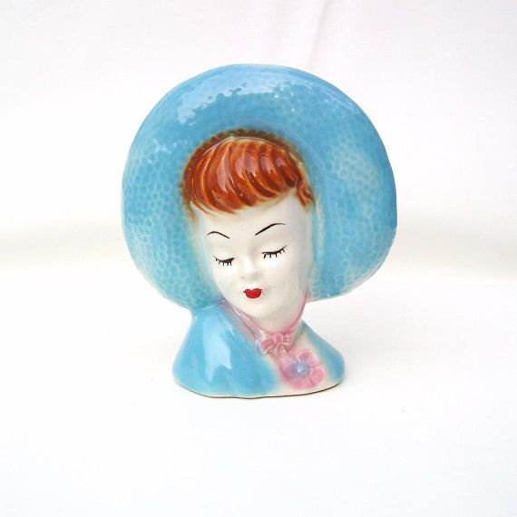 Vintage Lady Head Vase Wall Pocket Lady Planter by WhimzyThyme