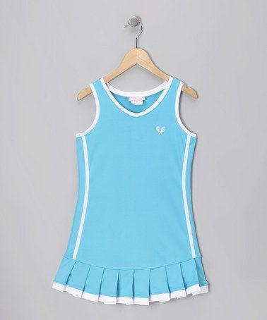 Blue White Pleated Tennis Dress Girls Zulily