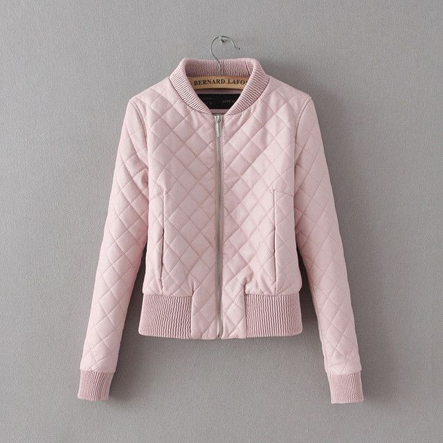 2017 New Spring Jacket Women Bomber Jacket Coat Short Slim Pink ...