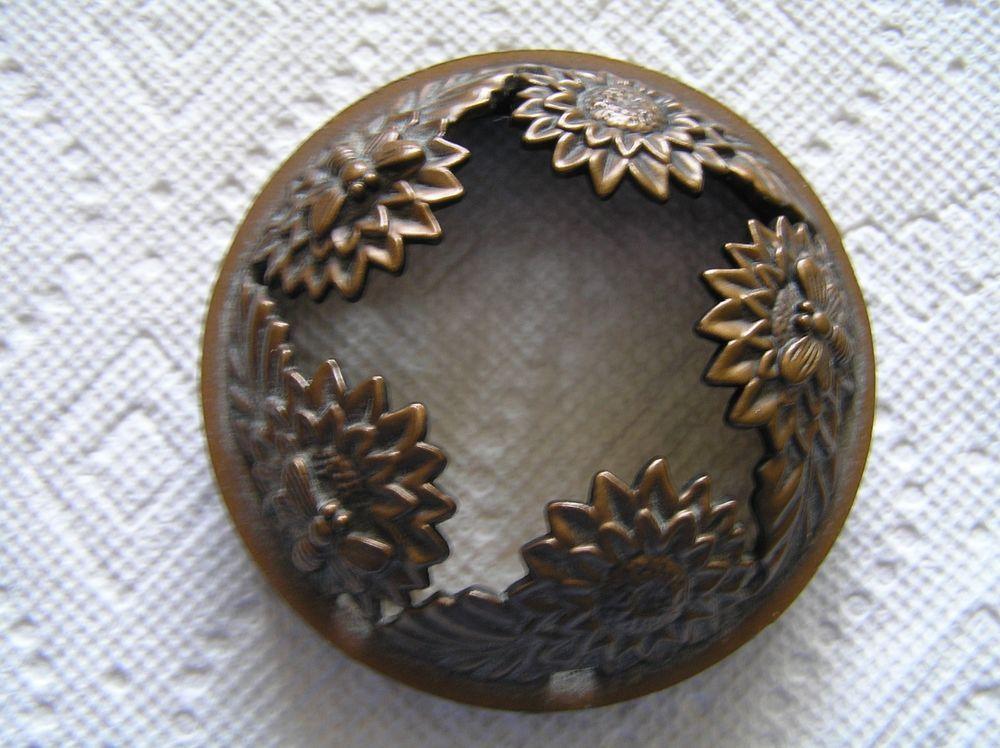 Yankee Candle illuma lid Topper Bronze Sunflowers Bees Rare Retired #YankeeCandle