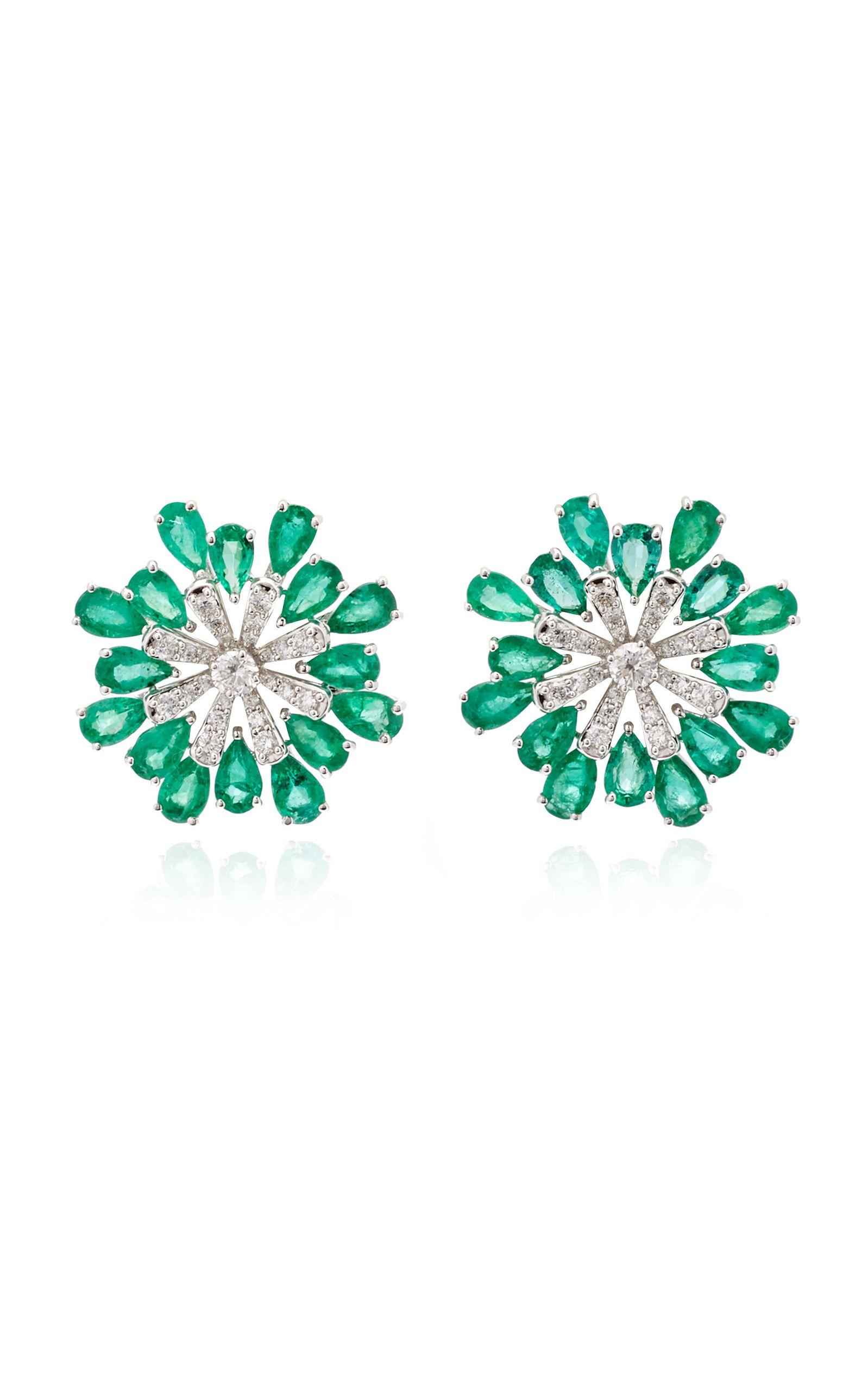 Multilayer Flower Earrings Emerald Snowflake Ear Stud Jewelry 18K Gold Filled