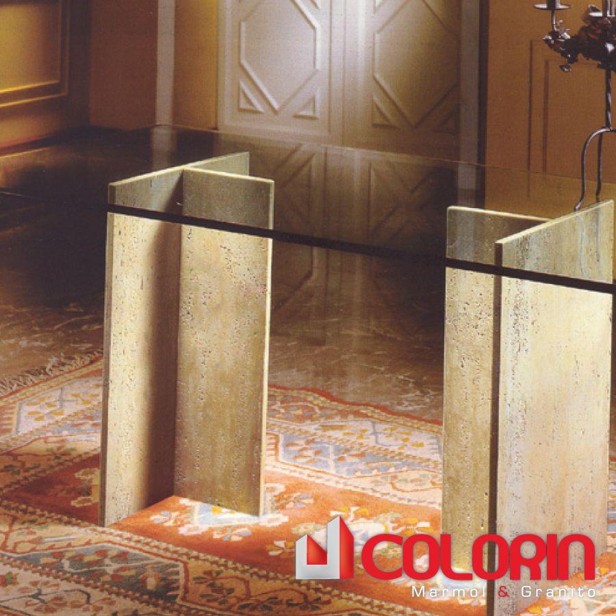 Mesa de comedor con patas de marmol cruzado y meson de for Mesas de comedor de vidrio y metal