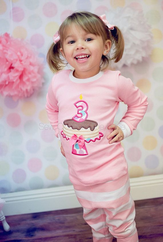 Personalized Custom Birthday Cake Girl Cotton Sleepwear Pajama 2 Pcs Set