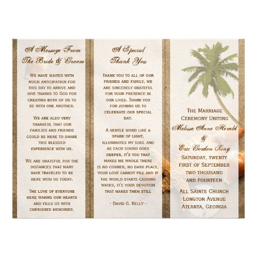 Tropical Palm Tree Beach Wedding Tri-Fold Program Flyer Wedding - wedding program template