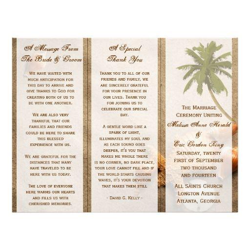 Tropical Palm Tree Beach Wedding TriFold Program Flyer  Wedding