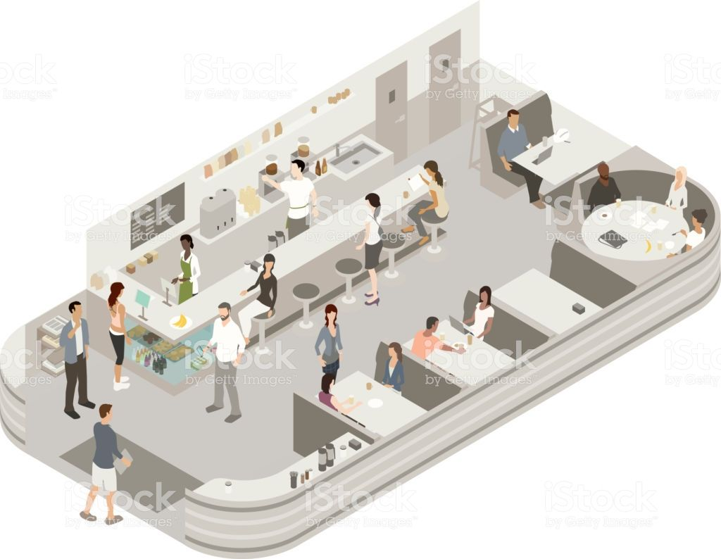 Detailed Isometric Illustration Of A Coffee House Interior With 2