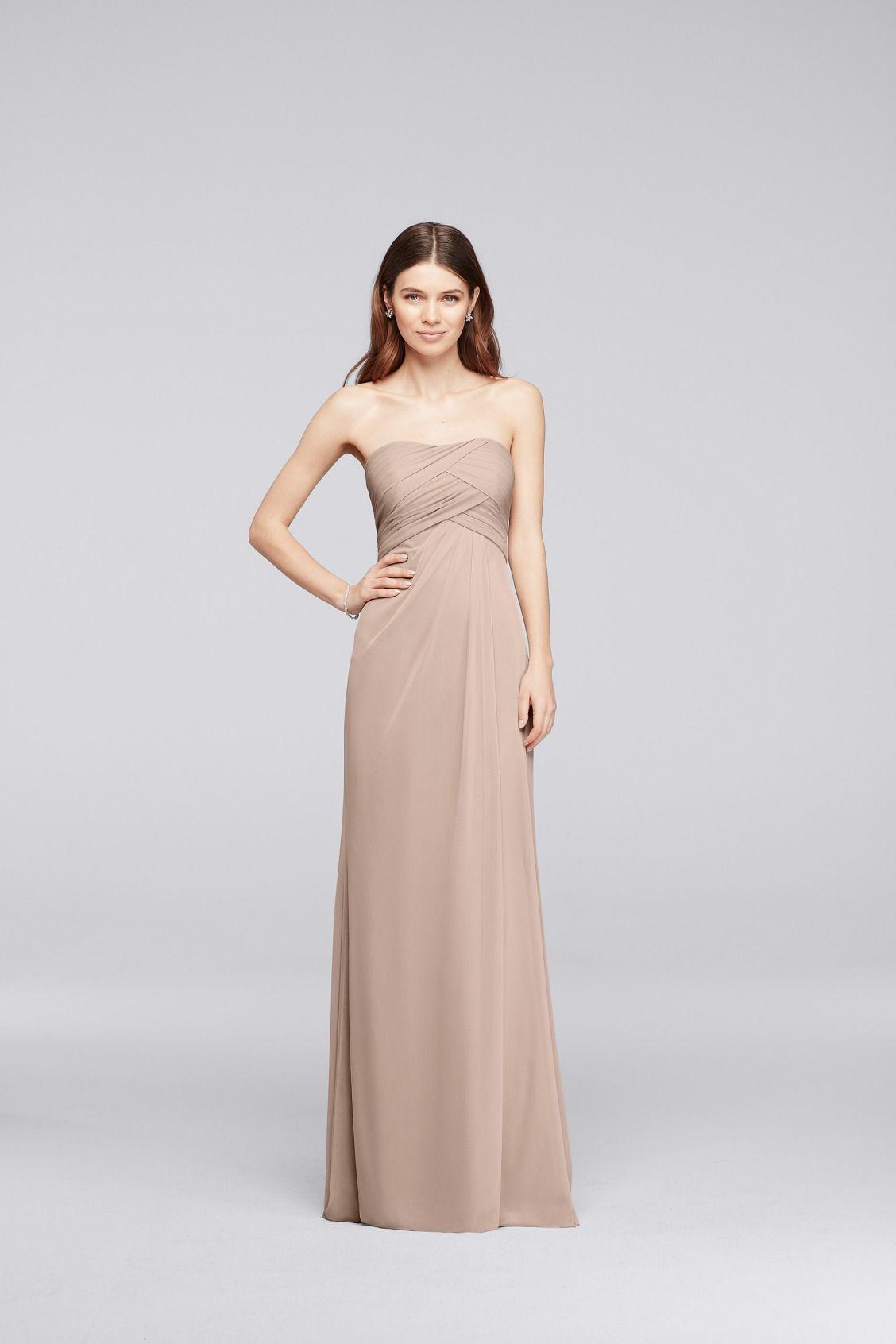 Stunning Mesh Strapless Long Bridesmaid Dress with Pleats available at David us Bridal