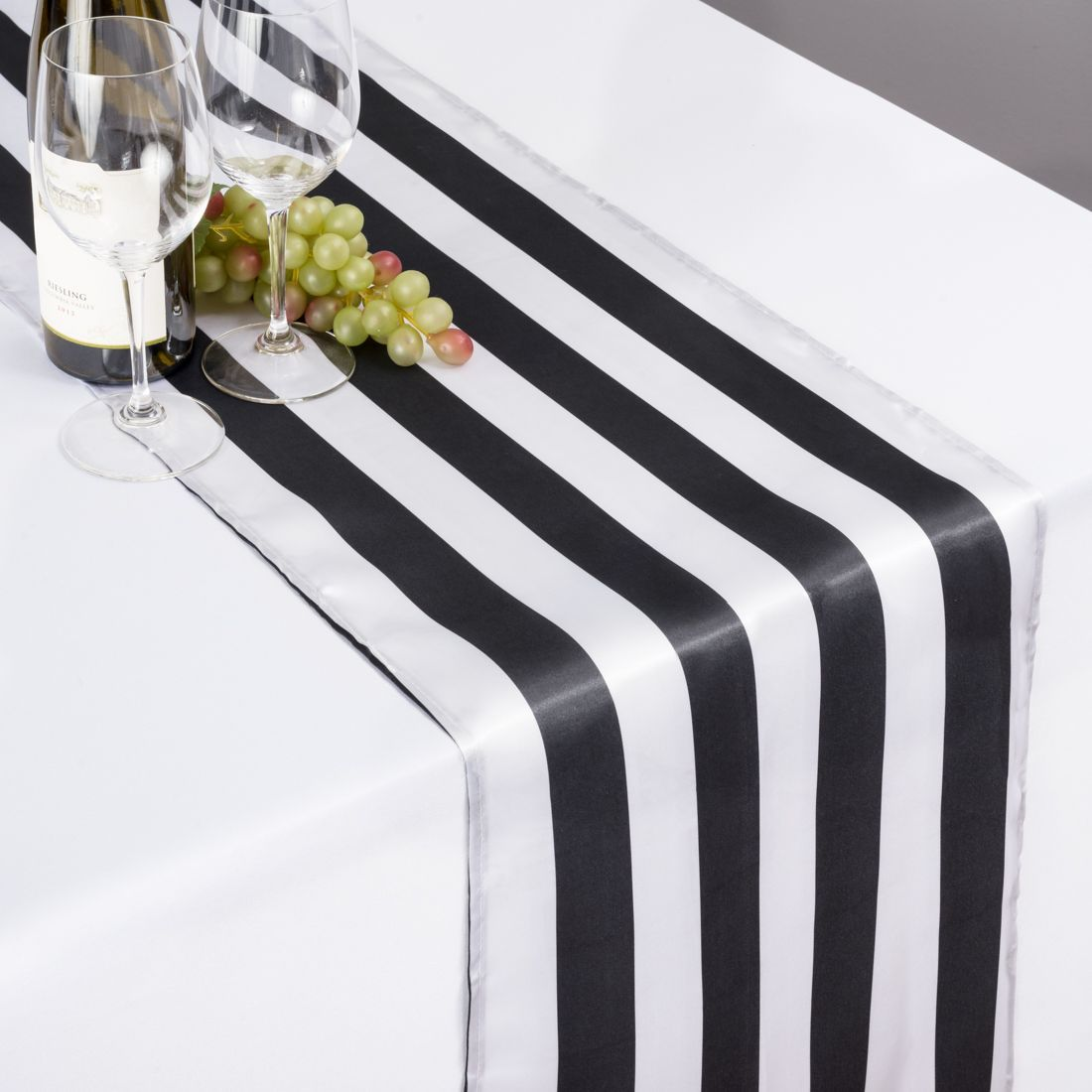 Check Out The Deal On 14 X 108 In Black White Striped Satin Table Runner At Linen Tablecloth White Plastic Table Striped Table Runner White Stripes Wedding