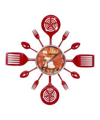 Look at this #zulilyfind! Red Spatula & Utensil Wall Clock by Home Essentials and Beyond #zulilyfinds