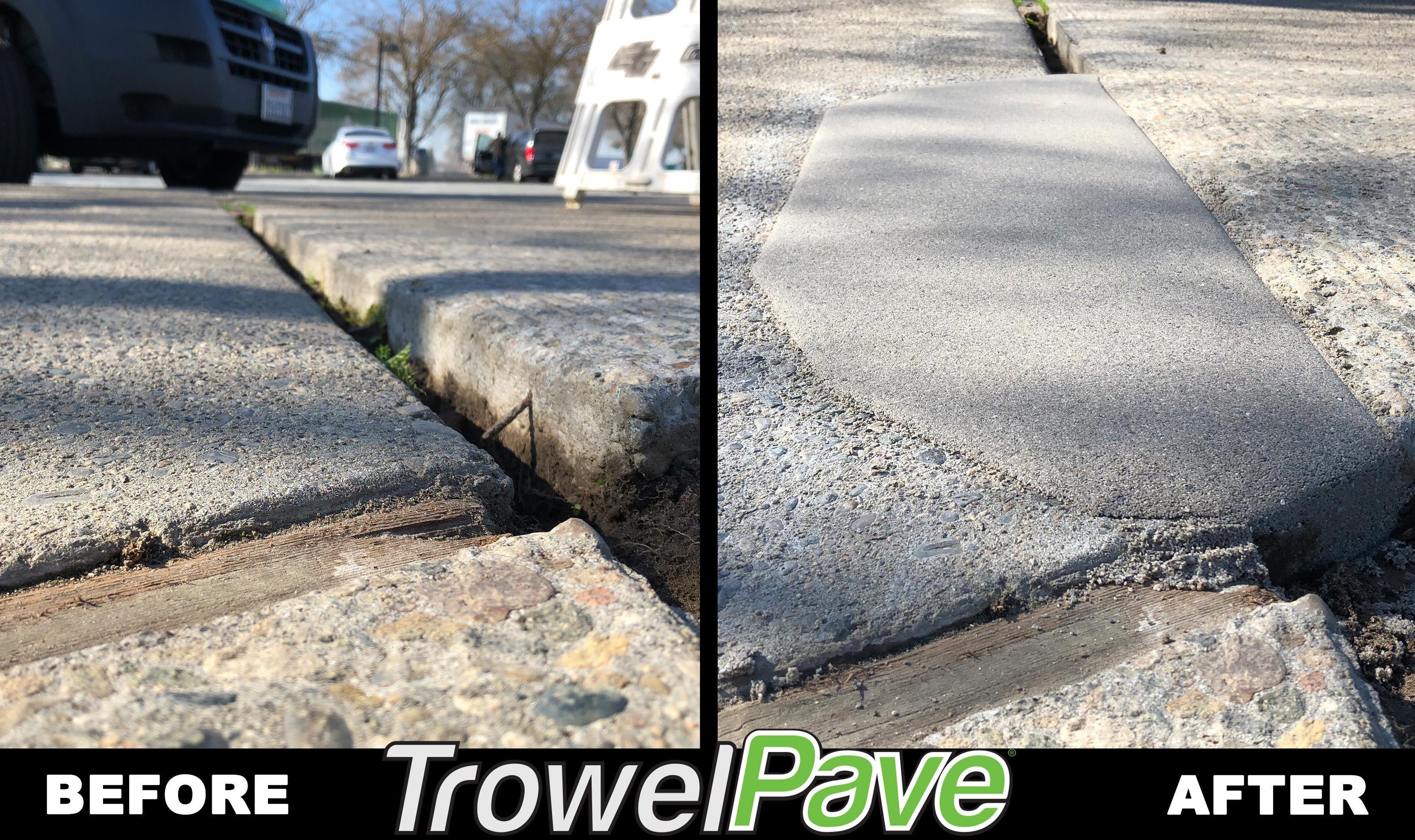 Sidewalk trip hazard repair using TrowelPave Concrete