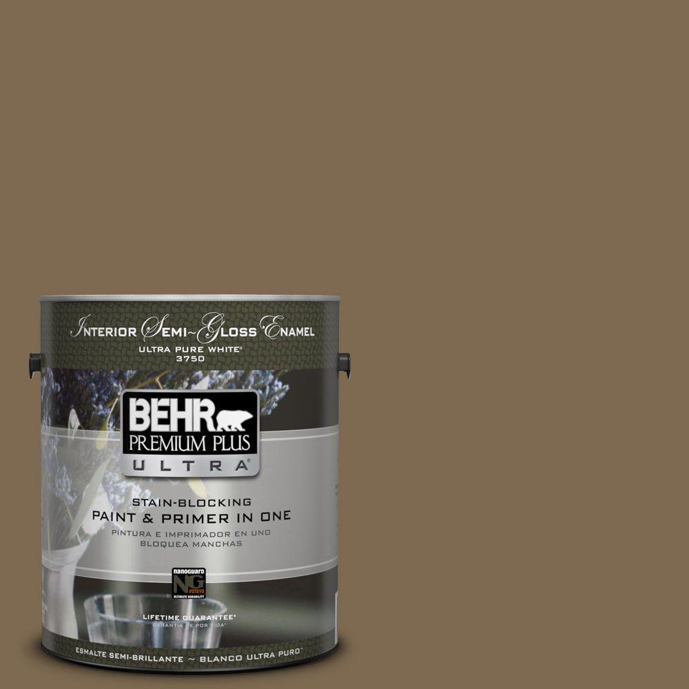 BEHR Premium Plus Ultra 1-gal. #N300-7 Mayan Ruins Semi-Gloss Enamel Interior Paint