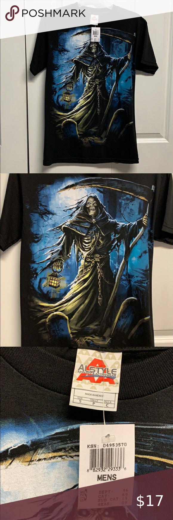 Alstyle Tee Shirt Size S Grim Reaper New Tee Shirts Tees Shirt Size