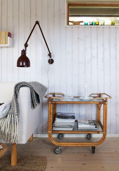 love the chevron blanket, love the lamp, love the rattan cart