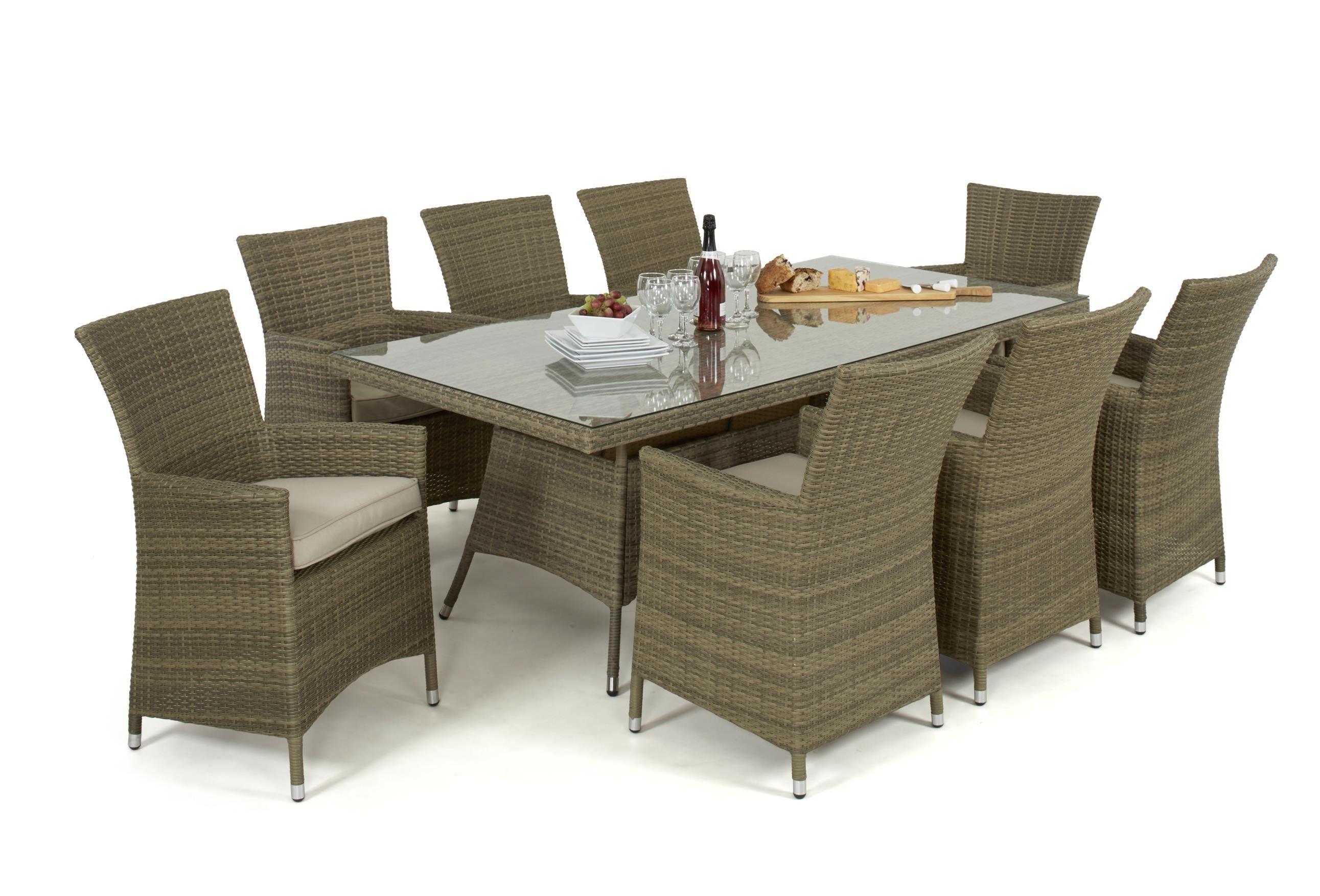 Maze Rattan Tuscany 8 Seat Rectangular 2 Tone Light Weave Garden Furniture Set 200x100cm