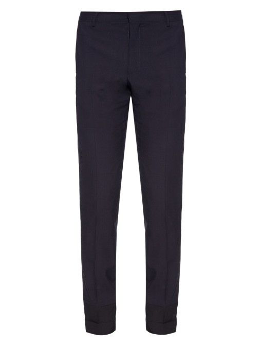 MAISON MARGIELA Slim-Leg Contrast-Hem Wool Trousers. #maisonmargiela #cloth #trousers