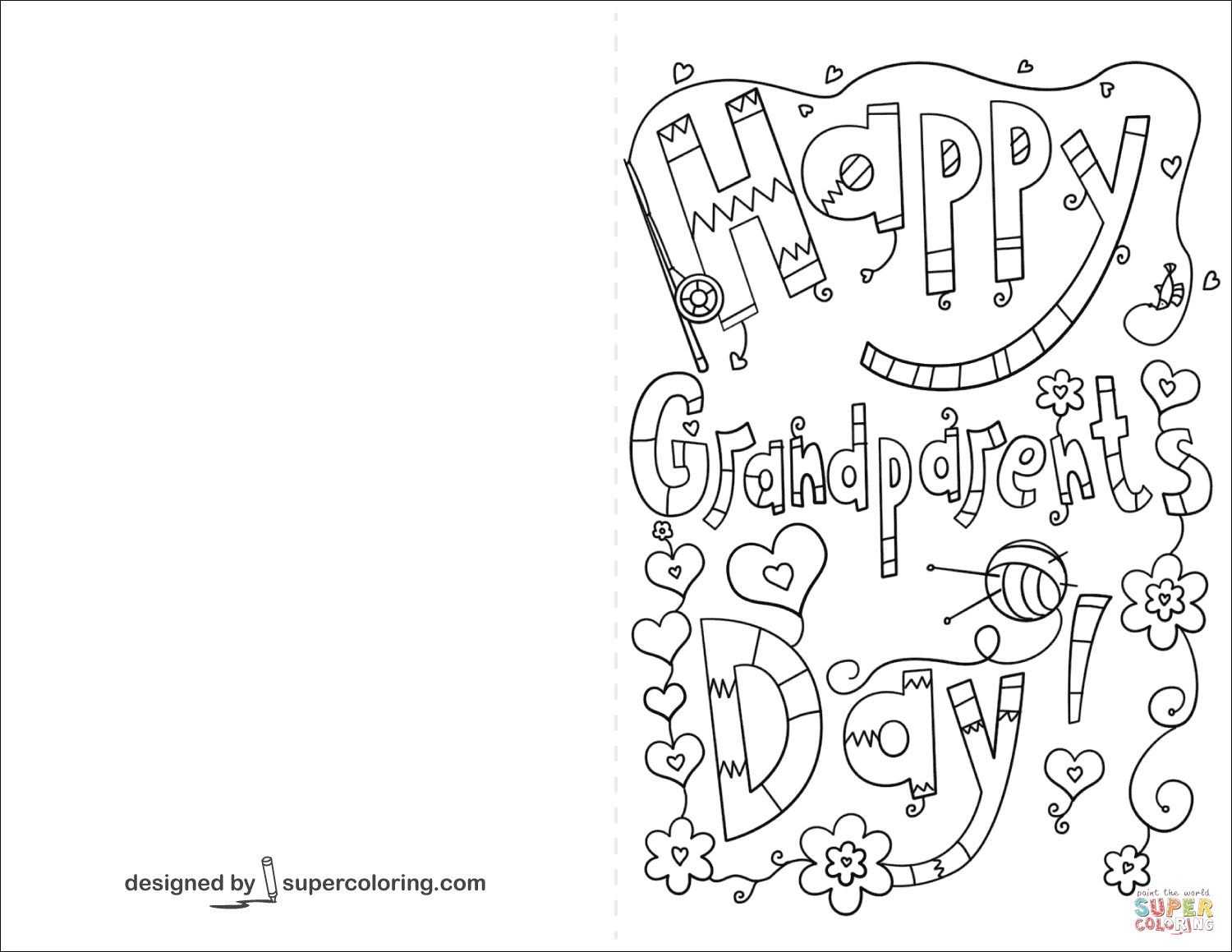 Happy Grandparents Day Doodle Card Coloring Page