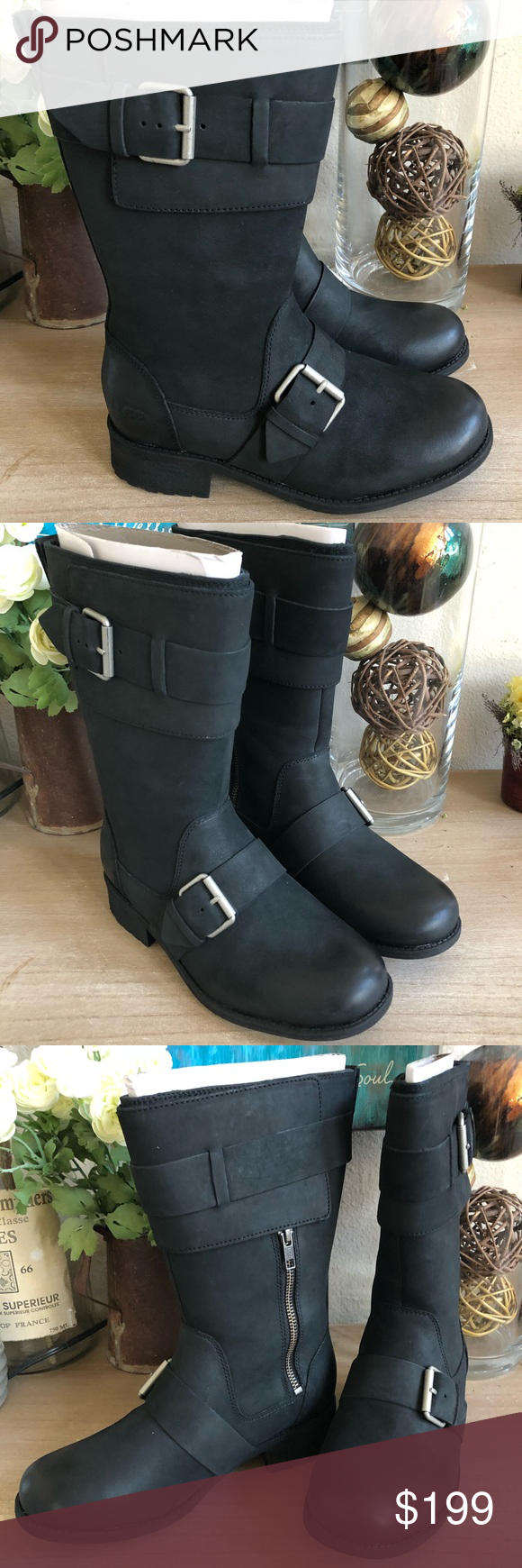 0f8bc2a37be Chancey Black Leather Calf Biker Boots BRAND NEW! A wide front panel ...