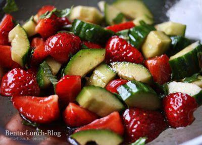 Bento Lunch Blog: Rezept: Erdbeer-Gurkensalat mit Balsamico & Basilikum