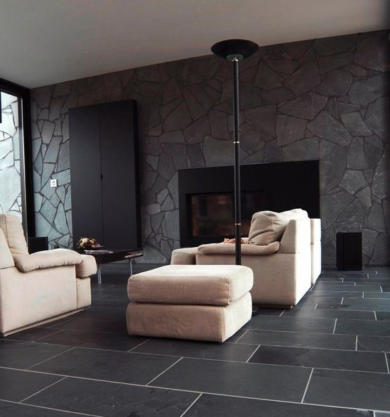 Black Stone Walls And Floors. Passive Solar Heating. As Much Thermal Mass  And Insulation