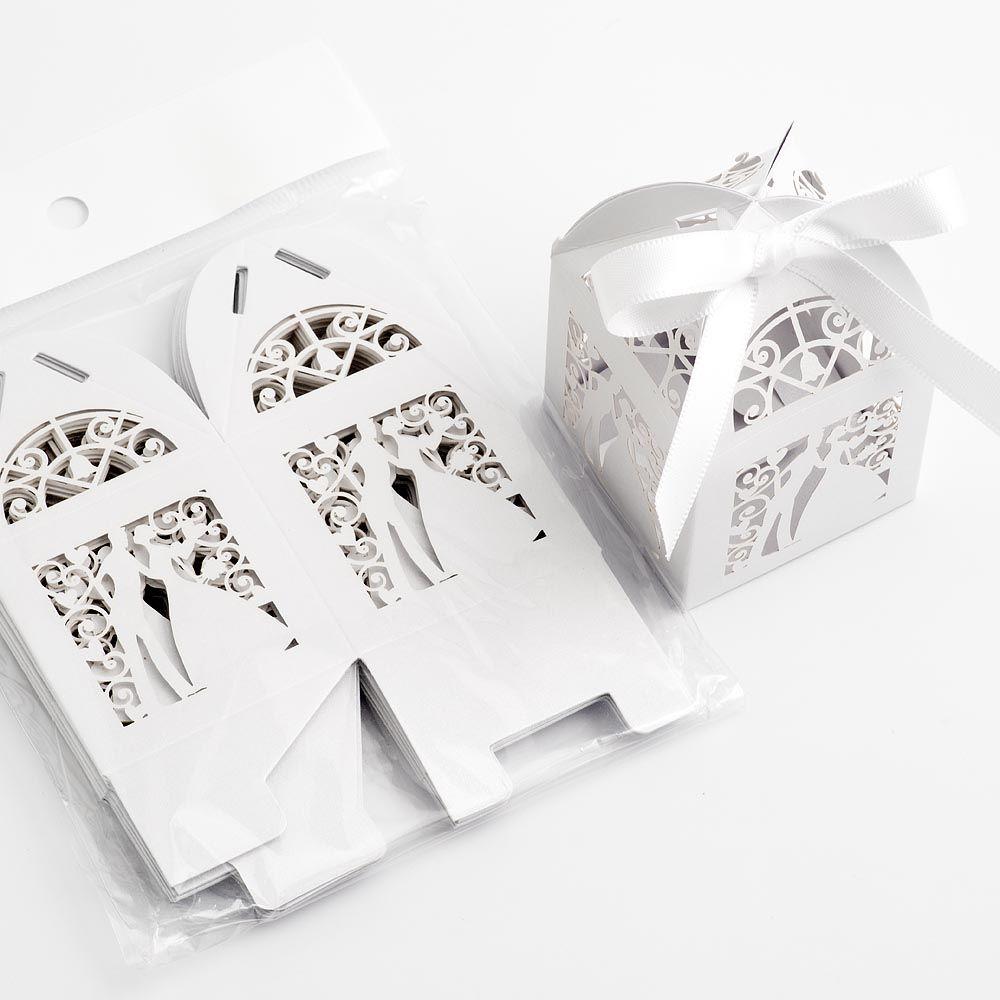 Filigree Bride & Groom Favour Boxes - Pearlised White Wedding ...