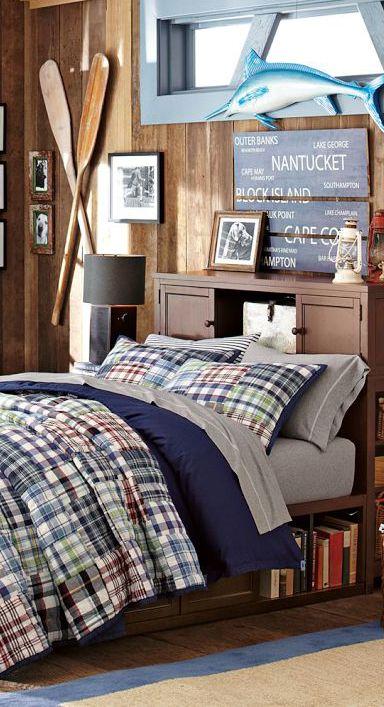 Kids Bedding | Mason | Boys fishing bedroom, Boys nautical ...